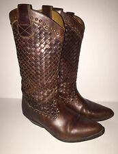 VTG COLE HAAN COUNTRY COWBOY BROWN LEATHER WOVEN WESTERN BOOTS SZ 6.5 WOMENS
