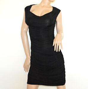 ROBE NOIRE femme fourreau sans manches ajustée emmanchure élégante dress A63