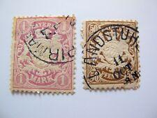 lot de 2 timbres Bayern Bavière 1 mark et 50 pf oblitérés Piramasens Landstuhl