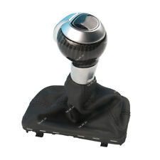 Carbon Fiber Automatic Gear Shift Knob w/ Black Leather Boot For AUDI Q3 VW Golf