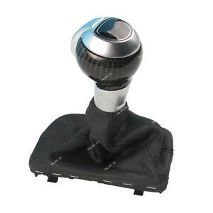 Carbon Fiber Automatic Gear Shift Knob w/ Black Leather Boot For AUDI Q3 VW Golf