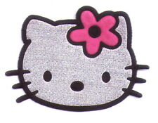 3 pcs Pink Flower Silvery hello kitty Iron on patches Skirt Jeans punk applique