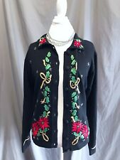 UGLY CHRISTMAS SWEATER Cardigan Long Sleeve Victoria Jones Black L Embroidered
