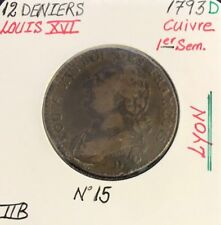 12 DENIERS - LOUIS XVI - 1793D - Pièce de Monnaie en Cuivre // TTB