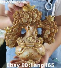 Markierte Old Jade Gilt Carving Reichtum Yuanbao Münze Baum Schatz Bowl Statue