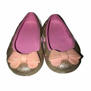 Crocs Pink Gold Glitter Bow Ballet Flats C 5