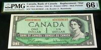 ASTERISK REPLACEMENT STAR S/O prefix BANK OF CANADA 1954 $1 PMG 66 EPQ