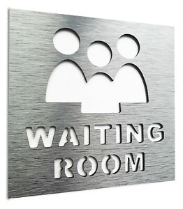 Aluminium Waiting Room Wall sign - Office area door signage - Staff only Decal