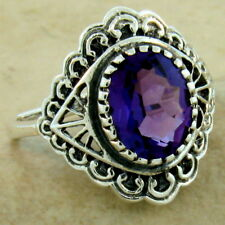 ANTIQUE STYLE VICTORIAN .925 STERLING SILVER LAB AMETHYST RING SIZE 7,     #1108