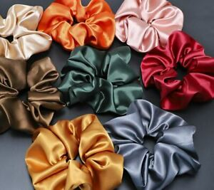 Large thick strong Silk Scrunchies Hair Band  Satin Fabric Tie Elastic Bobble UK