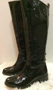 Faith Black Patent Leather Flat Knee High Buckle Back Boots size UK 6 EU 39