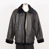 Men's Winter Bomber Leather Jacket Size L Large Black