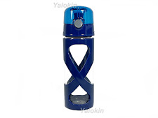 NEW Dark Blue BPA Lead Free Flip Lid GLASS Beverage Bottle 16 oz (0.5 Liter)