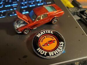 1968 Hot Wheels Redline Custom Mustang Red Unrestored, White interior. Sweet 16