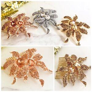 Vintage Bride Wedding Hair Comb Gold/Silver/Rose Crystal Diamante Hair Clip