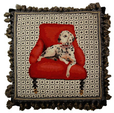 """16"""" x 16"""" Handmade Wool Needlepoint Dog Pillow with Dalmatian on Red Chair"""