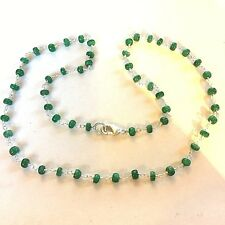 "NE76 Real emerald beaded FINE 18"" sterling silver necklace IN GIFT BOX Plum UK"