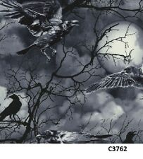 Spooky Night Sky Full Moon Crows cotton fabric BTY Timeless Treasures Halloween