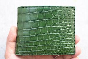Green Genuine Crocodile Alligator Skin Leather - Men's Bifold Wallets #W8