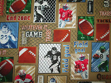 Football Balls Blocks Words Players Ball Tan Unique Cotton Fabric BTHY