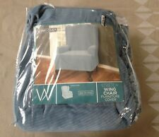 Maytex Easy to Install Stretch Wing Chair Furniture Smart Base Cover Blue
