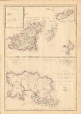 1863 Large Antique Map - Dispatch Atlas- The Channel Islands