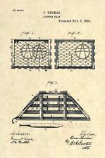 Official 1888 Lobster Trap US Patent Art Print-Vintage Antique Original Maine218