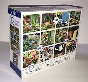 12 Pack of assorted Garden Flowers Plant themed, Jigsaw Puzzles set New Sealed