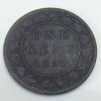 1858 Canada Copper Large One 1 Cent Penny Circulated Canadian Coin F240