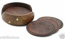 Artist Haat Wooden Hand Crafted Table Coaster Drink Coaster Set with Holder Gift