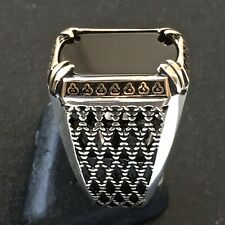 925 Sterling Silver Mens Ring with Black Onyx Unique Elegant Artisan Jewelry