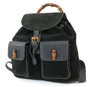 Authentic GUCCI Black Suede and Leather Bamboo Handle Backpack Bag #38329