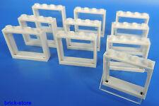 Lego fenêtre 1x4x3 Cadre Blanc / avec insert en verre transparent clair/10-pc