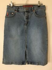 Guess Jean Skirt Straight Pencil Size 27 Vintage Stretch Denim Triangle Patch