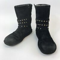 Genuine Uggs SN3329 UK8.5 Black Leather Suede Ankle Zip Studded Boots Fur Insole