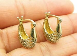925 Sterling Silver - Petite Twist Detailed Gold Plated Huggie Earrings - E7590