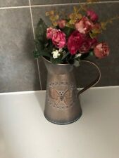Shabby Chic Rustic Copper Metal Pitcher Jug Vase Butterfly Home Decoration