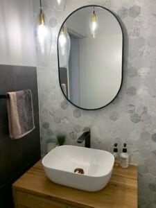 Oval Mirror Bjorn 50 x 75 cm Black Frame