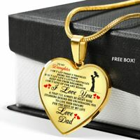 To My Daughter Love Dad Heart Pendant Necklaces Anniversary Gift From Father