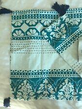 ANTHROPOLOGIE Enmore Embroidered Standard Shams Pillow Cases Cotton Tassels Boho