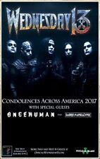 WEDNESDAY 13 Condolences 2017 Ltd Ed RARE Tour Poster +FREE Metal Rock Poster!