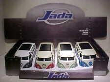 4 pack of 1962 VW Van Volkswagen Bus Diecast 1:24 Jada Toys 8 inch White Walls