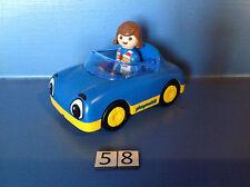 (58) playmobil 1.2.3. Cabriolet bleu ref 6758
