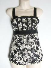 NEXT Stone Beige & Black Floral Sequinned Strappy Tunic Vest Top Size 8 Party