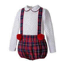 Baby Boy Outfit Long Sleeve Red Spanish Christmas Romany Plaid Suspender Bib Set
