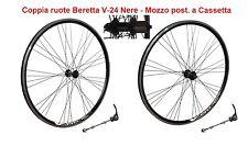 """Coppia Ruote 28"""" Beretta V-24 in Alluminio Nero a Cassetta per Bici Corsa Vintag"""