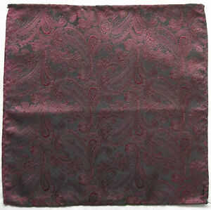 Hankie Pocket Square Handkerchief MENS Hanky BURGUNDY PAISLEY