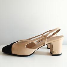 100% authentic CHANEL slingback heels nude beige grosgrain cap toe black CC 37