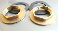 PAIR 32MM BRASS BACKNUTS AND WASHE FOR MONOBLOC KITCHEN BASIN SINK MIXER TAP