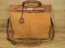 Handmade USA Holland Mulholland Brothers Brown Leather Luggage Large Bag w/Lock